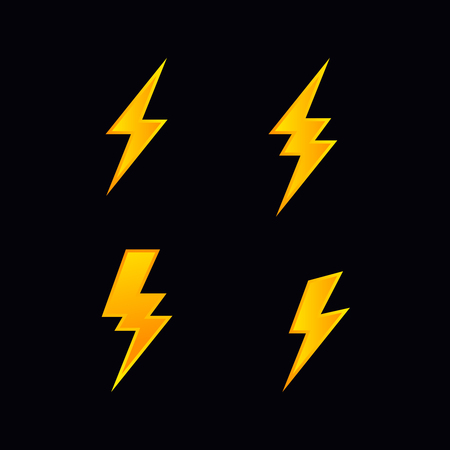 lightning bolt flash vector  icon set sign