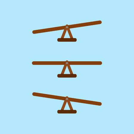 seesaw vector balance measurement icon in three positions