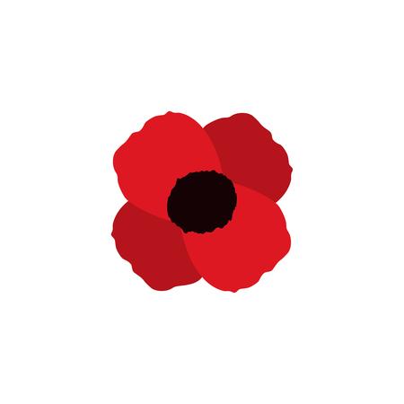 amapola roja vector flor símbolo memorial icono de la guerra mundial Ilustración de vector