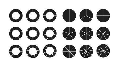 circle chart section segments set vector diagram segments pie template