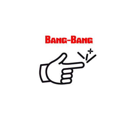 bang-bang  finger comic icon vector hand gun gangster symbol Illustration