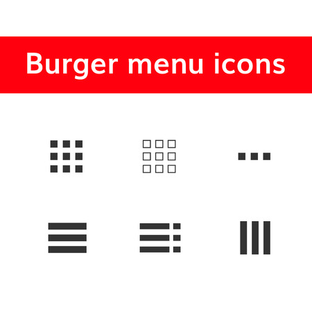 burger menu icons set  hamburger ui user interface  イラスト・ベクター素材