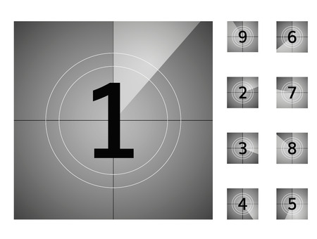 old vintage film countdown retro down counter vector protector numbers animation  イラスト・ベクター素材