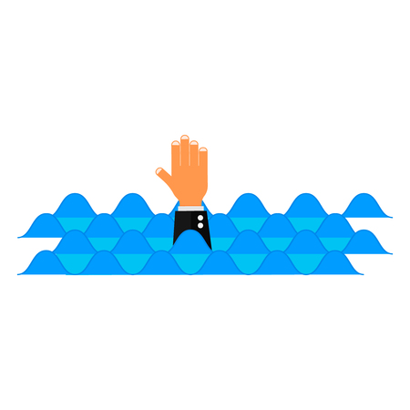 hand from water need rescue help vector Drowning victim Standard-Bild - 105669610