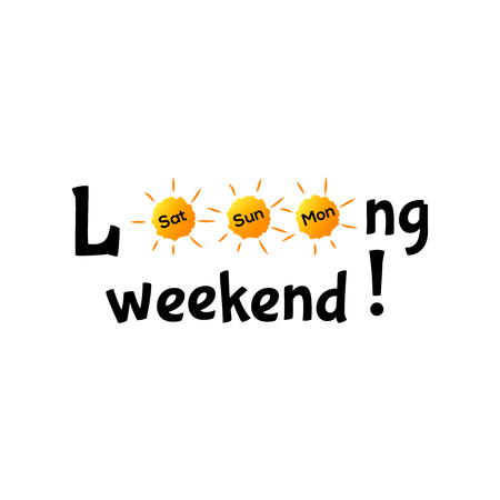 Long weekend typography concept Sunday Saturday Monday 向量圖像