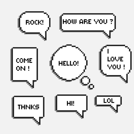 pixel 8 bit speech bubbles with words hi hello lol rock chat boxes retro  8-bit Stock Illustratie