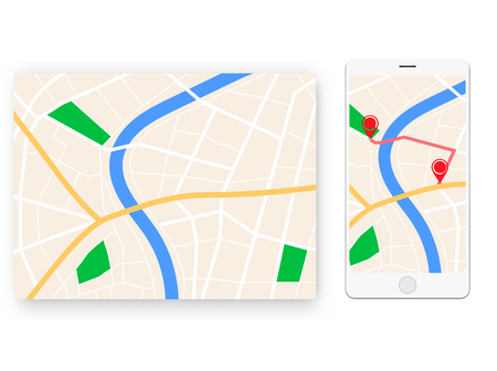 mobile map navigator with streets and city grs route app Stock Illustratie