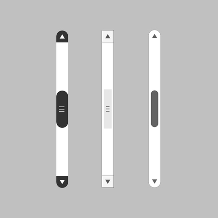 Scroll bars set. Vector scrollbar up and down move Illustration