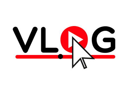Vlog icon logo . Play Video blog concept . Vloger preview  イラスト・ベクター素材