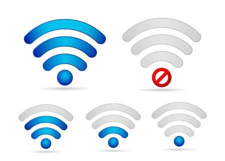 Set di icone di potenza del segnale Wi-Fi. Forte connessione settimanale e vettore offline Vettoriali