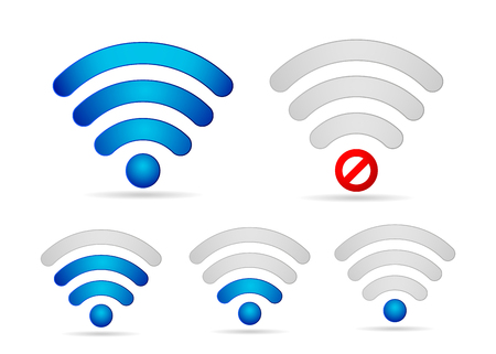 Wifi signal  strength  icon set . Strong week connection and offline vector