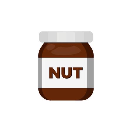 Schweißcreme Haselnuss Schokolade cremiges Essen. Leckeres Dessert-Vektor-Symbol Vektorgrafik