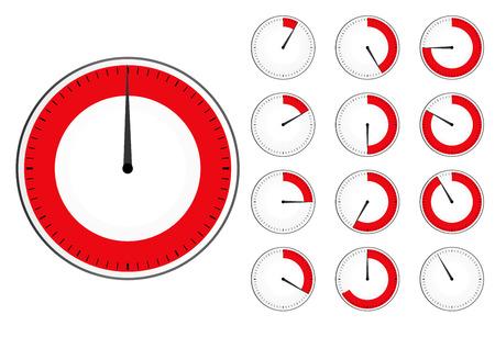 Timer clock set . Red countdown timer icon Illustration