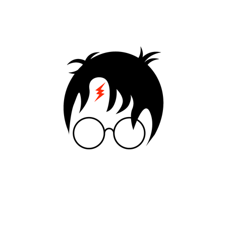 icon of a wizard boy with glasses and scar lightning bolt Stock Illustratie