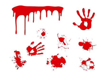 Splash blood vector . Hand print and paint splat