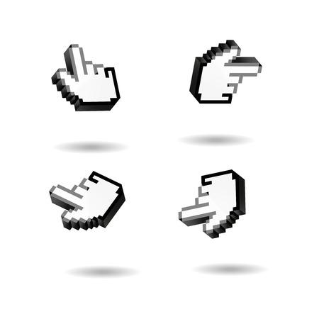 Insieme del cursore del puntatore della mano. Icona del dito 3D