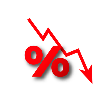 money loss more than zero percent fall vector