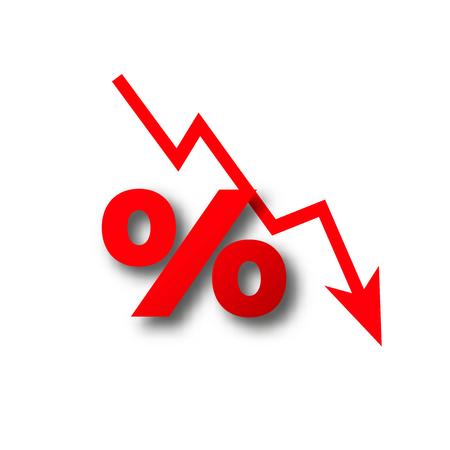 pérdida de dinero más del cero por ciento vector de caída Ilustración de vector