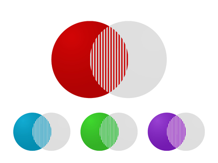 Fusionssymbol zusammenführen. Fusion Piktogramm Vektor Kreise
