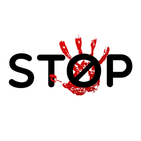 Stop bulling vector sign . No touch banner Illustration