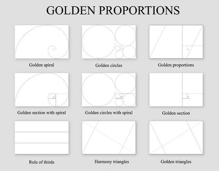 Conjunto de proporciones doradas. Ración de la sección áurea, regla de los tercios y espiral de Fibonacci