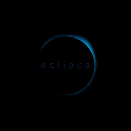 Solar eclipse blue . Blue glow moon eclipse