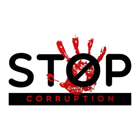 Stoppen Sie das Korruptionsbanner. Kein Poster mit korrupten Verbrechen Vektorgrafik