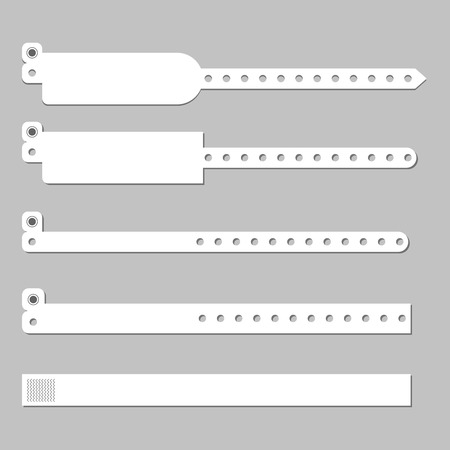 Wristband bracelet vector template . Wristband hospital patient wristlet Vectores