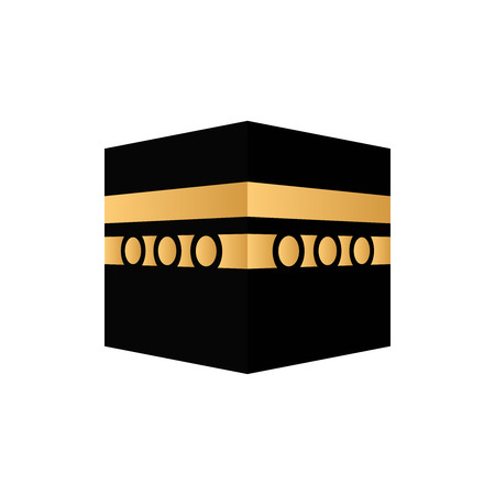 Kaaba mecca icon . al-kaaba vector arabian icon