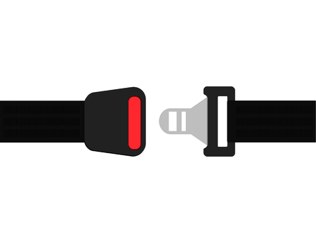 Click seat belt icon . Air plane safety belt vector Vectores