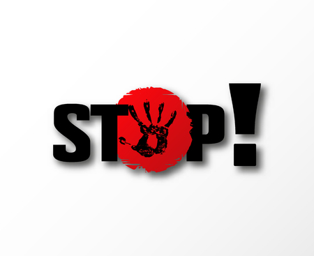Stop bulling banner . No aggression symbol. Dont heart . Anti bully sexual  harassment Illustration
