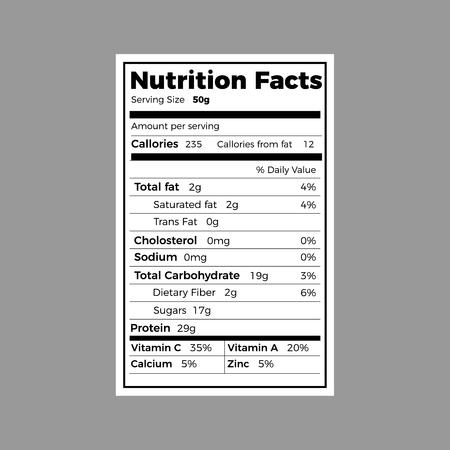Nutrition facts label . Vector food calorie information Illustration