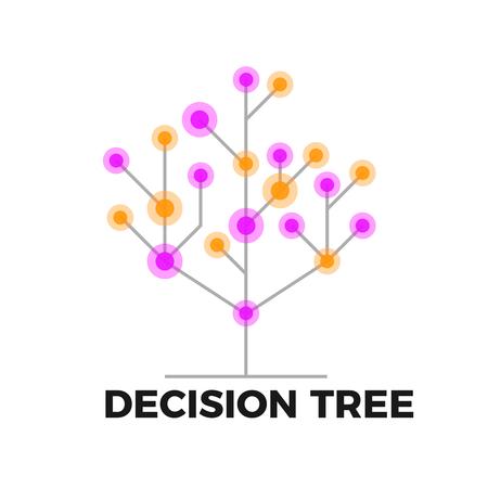 Symbol für den Entscheidungsbaum. Konzept des Datenanalysealgorithmus