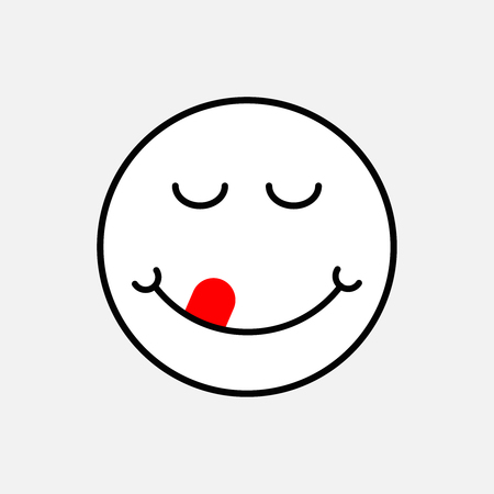 yummy face icon . Delicious smile emoji logo 矢量图像