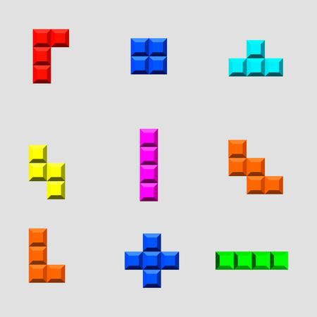 Tetris bricks set . Computer game block collection Illustration