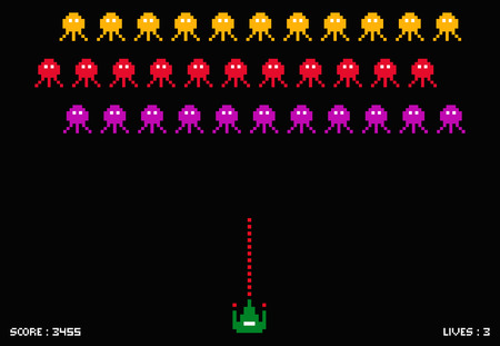 Cosmic invaders game. Pixel space invader set retro style video game
