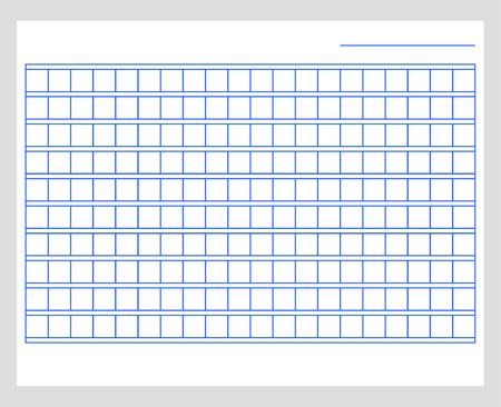 Squared manuscript paper template .  Blank blue paper Vectores