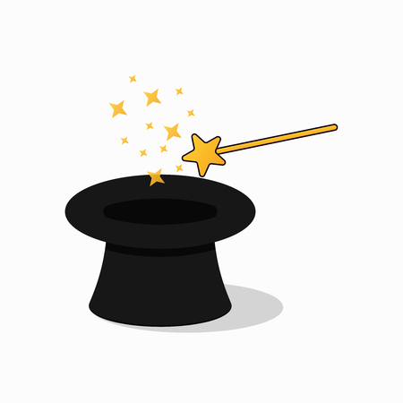 Hat and magic wand . Gold magician star stick  icon