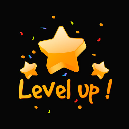 Level up reward . New level achievement in video game Çizim