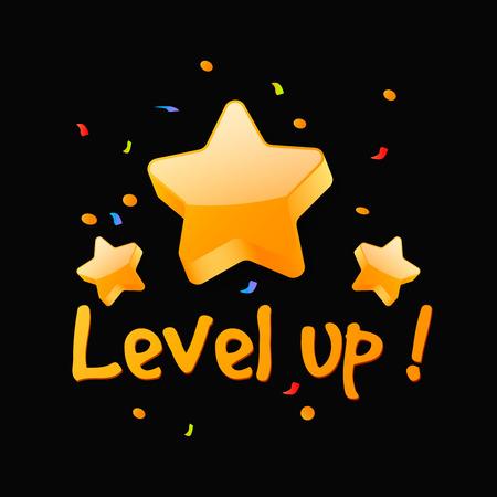 Level up reward . New level achievement in video game Illustration