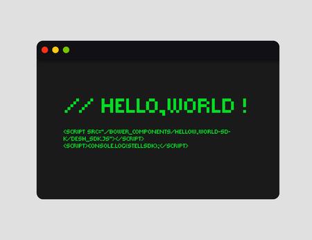 Bonjour illustration du code mondial. Illustration de concept de codage