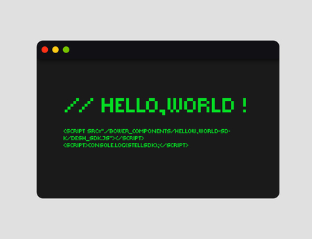 Hello world code illustration. Coding concept illustration