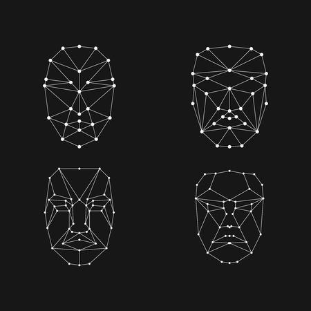 conjunto de cuadrícula de reconocimiento facial. Malla de identificación facial Ilustración de vector