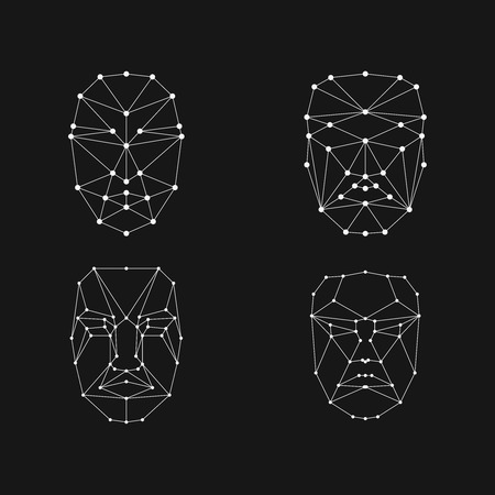 face recognition grid set . Face id mesh 矢量图像