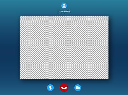 Plantilla de pantalla de videollamada. Discurso de video en línea con marco para foto Ilustración de vector