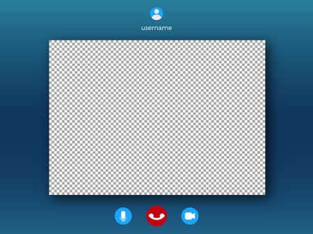 Video call screen template . Online video speech with frame for photo
