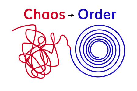 Order and Chaos . Chaotic line and organised spiral Illustration