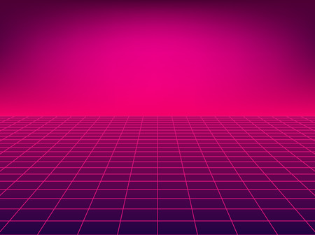 Cuadrícula de perspectiva de neón. Fondo de piso retro en estilo años 80. Ilustración de vector