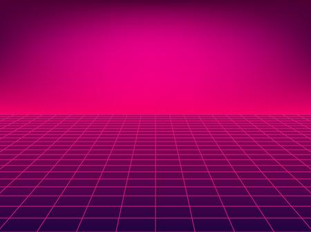 Neonowa siatka perspektywiczna. Retro tło podłogi w stylu lat 80-tych. Ilustracje wektorowe