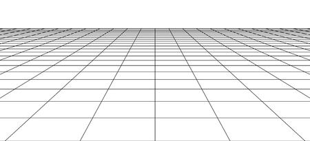 Perspektive Wireframe-Landschaft. 3D abstrakter Rasterhintergrund